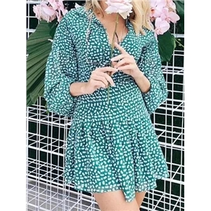 Green Chiffon Plunge Floral Print Puff Sleeve Chic Women Mini Dress