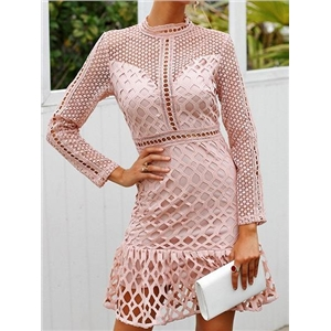 Pink High Neck Ruffle Hem Long Sleeve Chic Women Lace Mini Dress