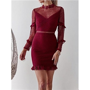Burgundy Ruffle Trim Long Sleeve Chic Women Lace Bodycon Mini Dress