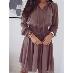 Purple V-neck Frill Trim Long Sleeve Chic Women Mini Dress