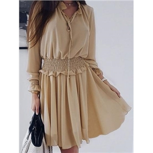 Khaki V-neck Frill Trim Long Sleeve Chic Women Mini Dress