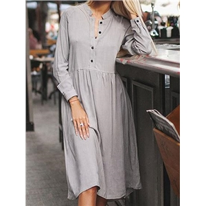 Gray Cotton Blend Button Placket Front Long Sleeve Chic Women Dress