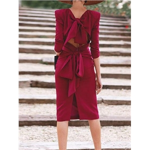 Burgundy Tie Back Split Back Chic Women Bodycon Dress