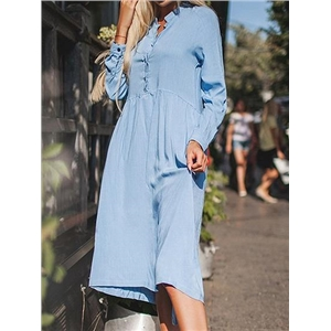 Blue Cotton Blend Button Placket Front Long Sleeve Chic Women Dress