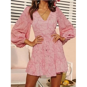 Pink V-neck Leaf Print Puff Sleeve Chic Women Mini Dress