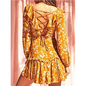 Yellow V-neck Floral Print Long Sleeve Chic Women Mini Dress
