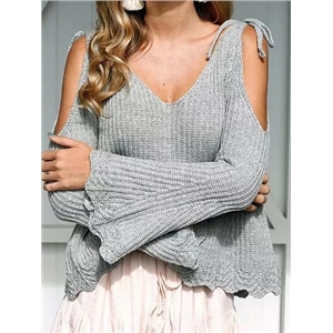 Gray V-neck Cold Shoulder Flare Sleeve Chic Women Knit Sweater