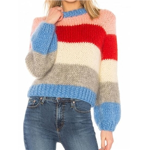 Polychrome Stripe Long Sleeve Chic Women Mohair Knit Sweater