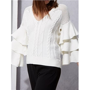 Beige V-neck Layered Flare Sleeve Chic Women Knit Sweater