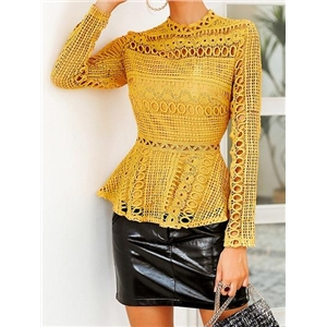 Yellow Cut Out Detail Long Sleeve Chic Women Lace Blouse