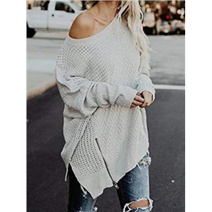 Gray Zip Front Batwing Sleeve Chic Women Knit Sweater