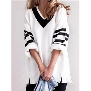 White V-neck Stripe Panel Tassel Trim Chic Women Knit Sweater