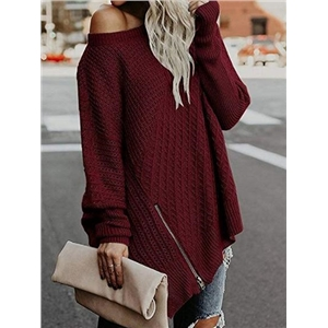 Burgundy Zip Front Batwing Sleeve Chic Women Knit Sweater