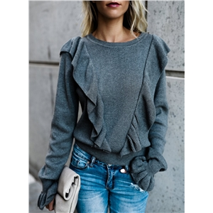 Casual Long Sleeve Paneled Knitted Sweater