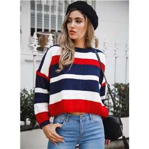 Red Striped Round Neck Long Sleeve Loose Pullover Sweater