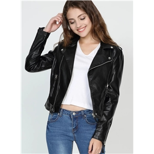 Biker Moto Short PU Jacket Zip up