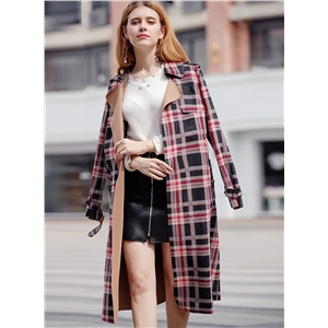 Classic Red Plaid Suede Trench Coats