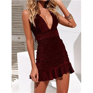 Red Plunge Lurex Yarn Ruffle Hem Chic Women Cami Mini Dress