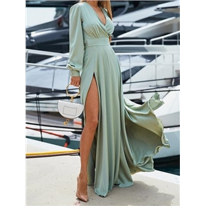 Green V-neck Thigh Split Side Puff Sleeve Chic Women Maxi Dress