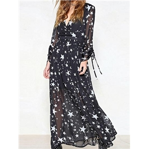 Dark Blue V-neck Star Print Long Sleeve Chic Women Maxi Dress