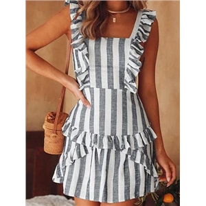 Gray Stripe Ruffle Trim Open Back Chic Women Cami Mini Dress
