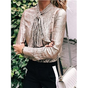 Silver Tie Front Long Sleeve Chic Women Sparkling Shirt