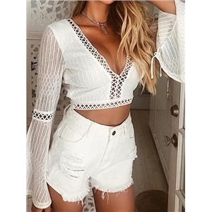 White V-neck Open Back Flare Sleeve Chic Women Lace Crop Top