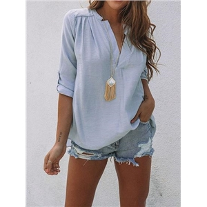 Blue V-neck Split Back Long Sleeve Chic Women Blouse