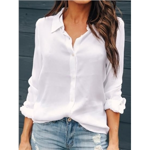 White Button Placket Front Long Sleeve Chic Women Shirt