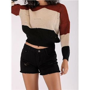 Red Contrast Long Sleeve Chic Women Knit Crop Hoodie Sweater