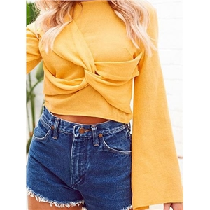 Yellow Knot Front Flare Sleeve Chic Women Crop Blouse