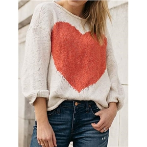 Beige Heart Print Long Sleeve Chic Women Knit Sweater