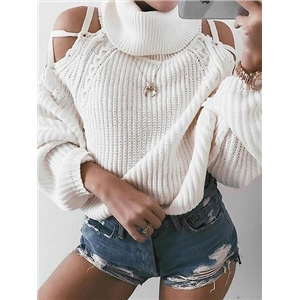 White High Neck Cold Shoulder Long Sleeve Chic Women Knit Sweater