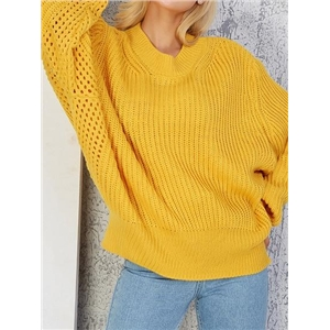 Yellow Cut Out Detail Batwing Sleeve Chic Women Knit Sweater