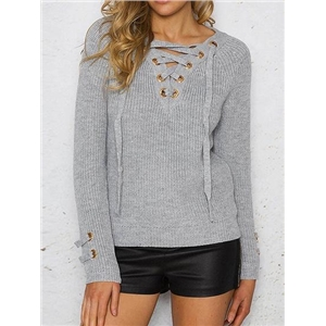 Gray Eyelet Lace Up Front Long Sleeve Chic Women Knit Sweater