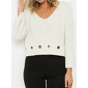 White V-neck Eyelet Detail Long Sleeve Chic Women Knit Sweater