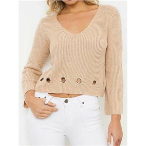 Khaki V-neck Eyelet Detail Long Sleeve Chic Women Knit Sweater