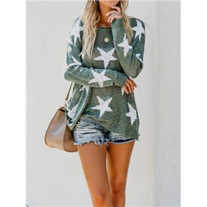 Green Star Print Long Sleeve Chic Women Knit Sweater