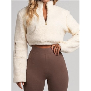 Beige High Neck Long Sleeve Chic Women Faux Shearling Crop Sweatshirt