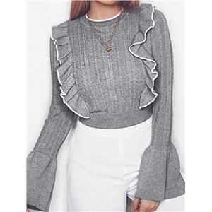 Gray Ruffle Trim Long Sleeve Chic Women Knit Sweater