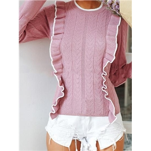 Pink Ruffle Trim Long Sleeve Chic Women Knit Sweater