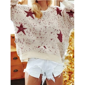 Beige Star Print Long Sleeve Chic Women Knit Sweater