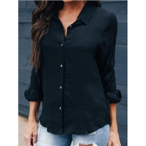 Black Button Placket Front Long Sleeve Chic Women Shirt