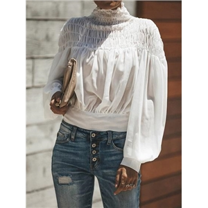 White Chiffon High Neck Puff Sleeve Chic Women Crop Blouse