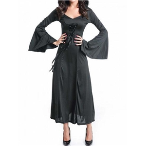 Black Halloween Vampire Cosplay Flare Sleeve Hooded Maxi Dress