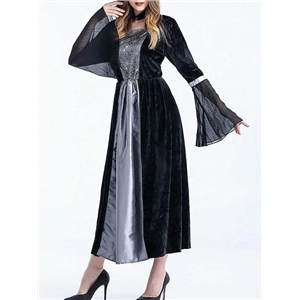 Gray Contrast Velvet Halloween Witch Cosplay Flare Sleeve Maxi Dress