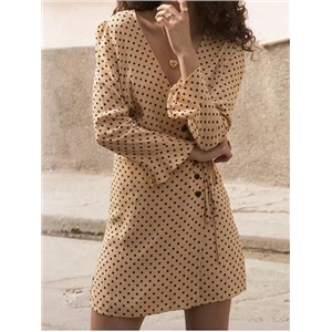 Beige V-neck Polka Dot Print Flare Sleeve Chic Women Mini Dress