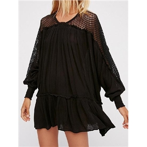 Black Frill Trim Batwing Sleeve Chic Women Mini Dress