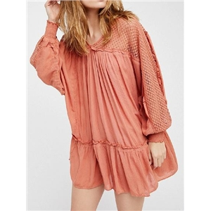Pink Frill Trim Batwing Sleeve Chic Women Mini Dress