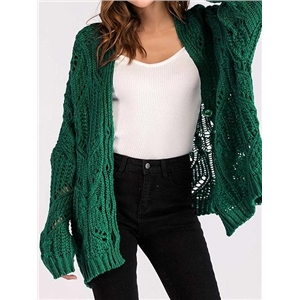 Green Button Placket Front Long Sleeve Chic Women Knit Cardigan